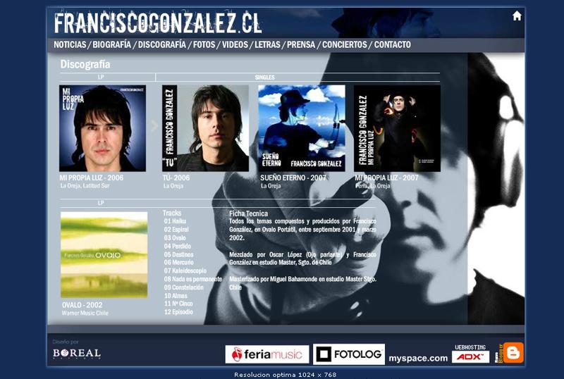 Sitio Web Cantante Francisco Gonzalez